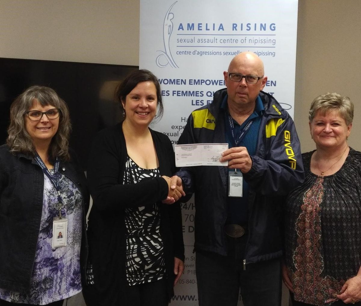AMAPCEO member Tammy Porter, Brigitte Lebel, Amelia Rising Executive Director, and AMAPCEO members Michael Bennison and Tammy Porter, all from North Bay