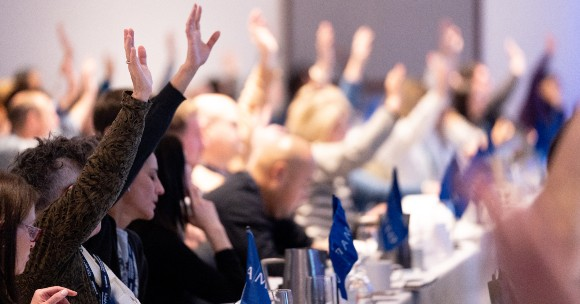 AMAPCEO delegates voting by raising hands