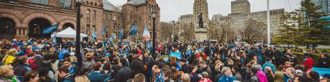 A large crowd of AMAPCEO activists outside Queen's Park
