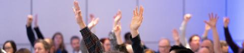 Delegates at an AMAPCEO Annual Delegates' Conference voting with their hands up