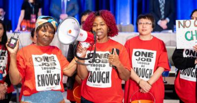 Photo of Toronto & York Region Labour Council President-Elect Andria Babbington and other activists