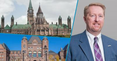 Composite of photos of President Dave Bulmer, Parliament and Queen's Park