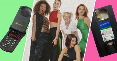 image of old flip cell phone, Spice Girls and VHS tape