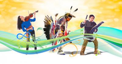 Graphic of Indigenous people playing music and dancing