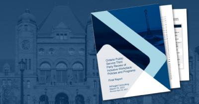 Navy graphic of image of the third party review overlaid on top of image of Queen's Park